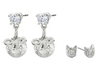Betsey Johnson Mini Cz's Cat Bow Duo Stud Earrings Crystal Earring Gray
