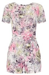 Quiz Pink Crepe Flower Print Playsuit