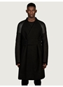 Rick Owens Men's Raglan Shearling Sleeve Coat Oki Ni
