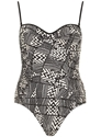 Geo ruched side swimsuit Dorothy Perkins United States