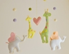 Baby mobile yellow green giraffe and white door GetaHandmadeGift