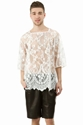 PUSHBUTTON 3 2f4 SLEEVES LACE TOP MEN PUSHBUTTON OPENING CEREMONY