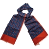 Unlined Printed Wool Scarf Navy 2fRed Scarves Accessories