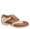 Johnston 26 Murphy 3a DOLBY WINGTIP SADDLE Natural Linen Fabric 2fBrown Leather