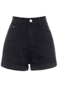 Romwe Romwe Rolled Cuffs High Waist Black Denim Shorts The Latest Street Fashion