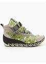 Mens Taupe Smiley Print High Top Sneakers