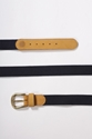 Good As Gold Moreporks Webbing Tape Leather Belt Mustard Navy