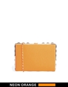River Island River Island Orange Stud Box Clutch At Asos
