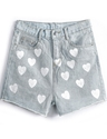 Light Blue Pockets Hearts Print Denim Shorts Sheinside.Com
