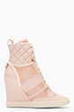 Chloe Pink Snakeskin Wedge Sneakers for women 7c SSENSE