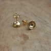 Gold earrings gold stud earrings bowls gold by DaphnaPorath