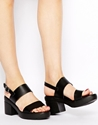 Asos Asos Hat Trick Leather Heeled Sandals At Asos