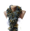 Knit Ruffled Scarf Women Hand Knitted Multicolor By Senoaccessory