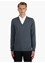 14 Men's Blue V Neck Knit