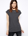 Asos Asos Boyfriend T Shirt With Roll Sleeve In Stripe At Asos