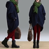 Blue Hooded Woolen Coat Long Irregular Winter By Dreamyil