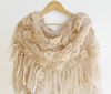 Beige Crocheted Shawl Mothers Day Women Shawl By Senoaccessory