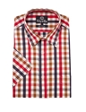 Viyella Short Sleeve Red 26 Navy Bold Check Cotton Shirt Regency Shirt Company