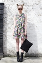 Graphic Floral Dress The Whitepepper