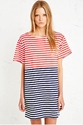Vintage Renewal Russian Stripe Dress In Red And Blue