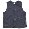 Post Overalls Royal Traveler Vest Indigo Atom Calico Print 