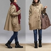 Khaki Cotton Trench Coat Winter Coat Loose Cloak By Dreamyil