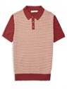 Red Geo Knit Polo Shirt Ben Sherman Online Store