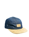 Asos Asos 5 Panel Cap In Denim With Tan Peak At Asos