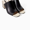 Leather Wide Heel Mule Shoes Woman Zara United Kingdom