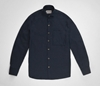 Navy blue wool cotton semi cutaway shirt e2 80 94 S E H Kelly e2 80 94 Clothes made in England and the British Isles