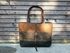 Waxed canvas shoulderbag carry all with leather by treesizeverse