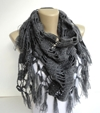 Gray Women Scarf Shawl Neckwarmer Crocheted By Senoaccessory