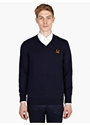 Men's Contrast Hem V Neck Jumper
