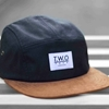 Black Wax Suede 5 Panel Cap Hat