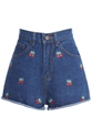 Romwe Romwe Cherry Embroidered Pocketed Blue Shorts The Latest Street Fashion