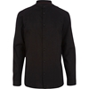 Black Grandad Collar Long Sleeve Shirt Formal Shirts Shirts Men
