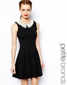 New Look Petite New Look Petite Crochet Collar Skater Dress At Asos