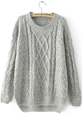 Grey Long Sleeve Cable Knit Loose Sweater Sheinside.Com