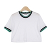 Simple Cropped T Shirt With Color Ribbed Ends