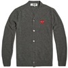Comme Des Garcons Play Cardigan Grey Red