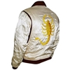 Amazon com 3a Ryan Gosling Scorpion Drive Jacket White Outerwear with Golden Embroidery 3a Clothing