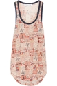 Foxton Printed Linen Jersey Tank The Outnet