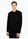 Men's Black Merino Combo Crew Neck Jumper