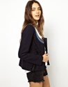 Maison Scotch Indigo Tweed Blazer With Braided Trim