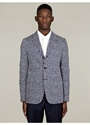 Jil Sander Men 27s Navy Honeycomb Print Three Button Jacket 7c oki ni