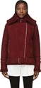 Carven Burgundy Turned Over Lamb Shearling Jacket