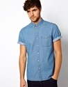 Asos Asos Denim Shirt In Short Sleeve With Mid Wash At Asos