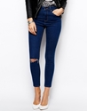 Asos Ridley High Waist Ultra Skinny Ankle Grazer Jeans In Rich Blue With Ripped Knee