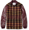 White Mountaineering Leather Sleeved Check Wool Blend Jacket Mr Porter