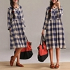 Cotton Plaid High Waist Cardigan Dress Blue Plaid By Dreamyil